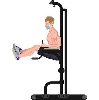 Man doet een horizontale pull-up met behulp van fitnessapparatuur