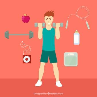 Man doet fitness