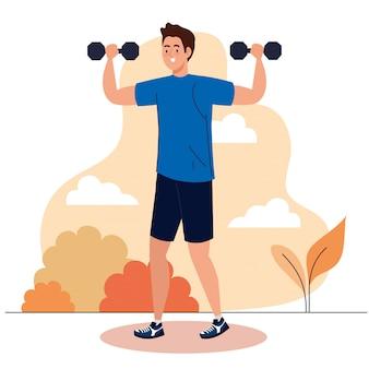 Man doet oefeningen met halters buiten, sport recreatie concept