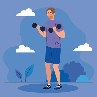 Man doet oefeningen met halters buiten, sport recreatie oefening