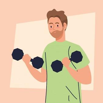 Man doet oefeningen met halters, recreatie oefening concept