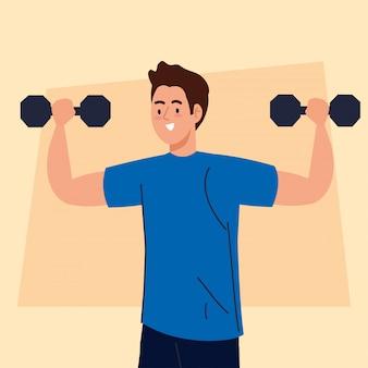 Man doet oefeningen met halters, sport recreatie concept