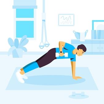 Man doet plank oefeningen met halters
