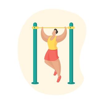 Man doet pull-ups training. fitnessapparatuur voor buiten. mannelijke stripfiguur die zichzelf aan de horizontale balk trekt. sport training. platte vectorillustratie