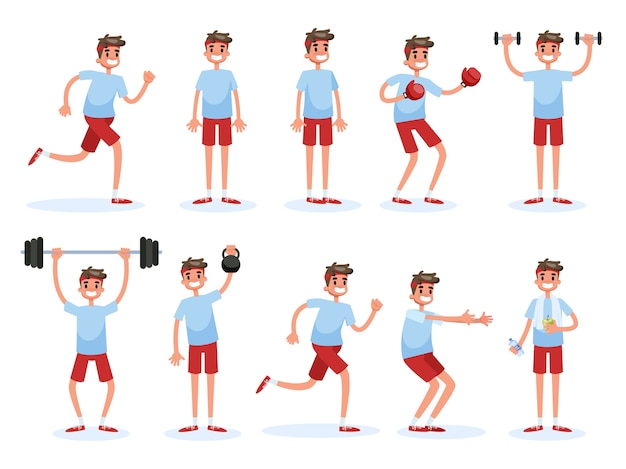 Man doet verschillende sport oefening set. opleiding