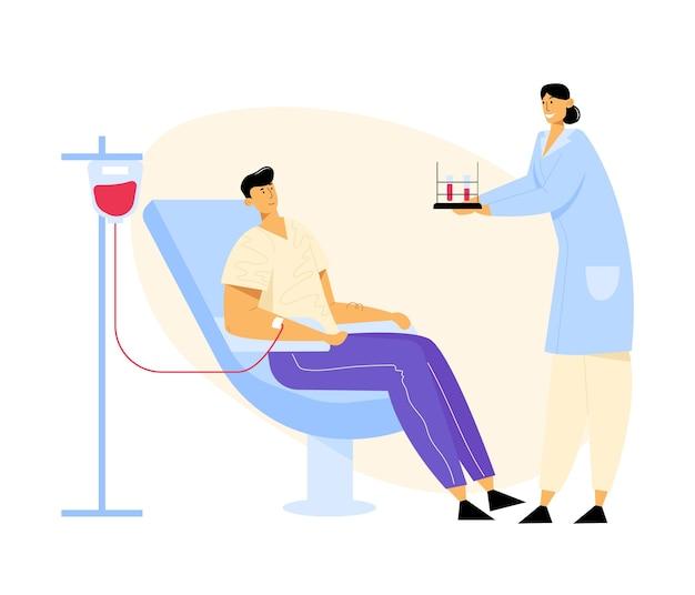 Man doneert bloed, verpleegkundige karakter uitvoering reageerbuizen met levensbloed