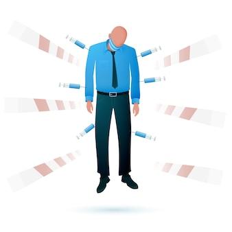 Man doorboord door verschillende vaccinaties in spuiten tegen de achtergrond van gesloten grenspoorten