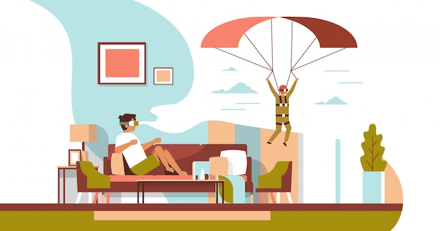 Man draag digitale bril virtual reality vliegende parachute kerel vr visie headset innovatie