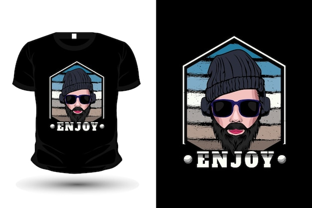 Man draagt hoofdtelefoon illustratie merchandise t-shirt ontwerp
