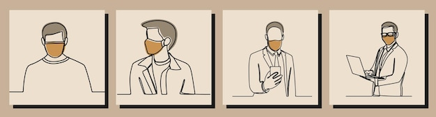 Man draagt masker oneline continue lijn kunst premium vector
