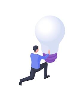 Man draait gloeilamp isometrische illustratie. het mannelijke karakter draait de grote bol gespannen rond. geboorte van een nieuw creatief idee en een professioneel implementatieconcept met toegewezen taken.