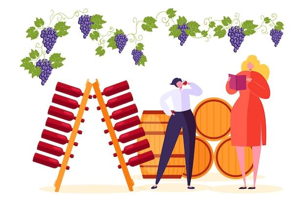 Man drink rode wijn bij winery market store