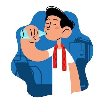 Man drinkt water op de sportschool platte vectorillustratie