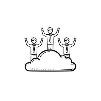Man dromer hand getrokken schets doodle vector pictogram. man op een wolk schets illustratie voor print, web, mobiel en infographics geïsoleerd op een witte achtergrond.