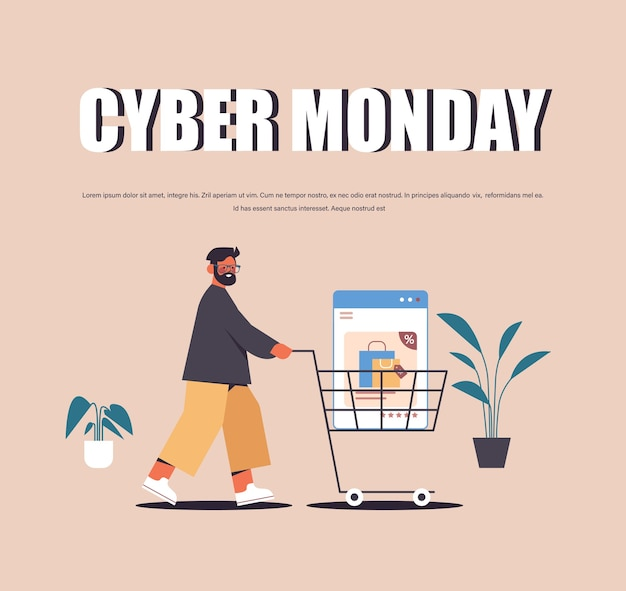 Man duwen webbrowservenster in trolley winkelwagen online winkelen cyber maandag verkoop vakantie kortingen e-commerce concept kopie ruimte