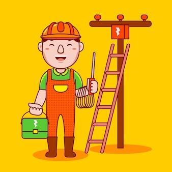 Man elektricien beroep in platte cartoon stijl