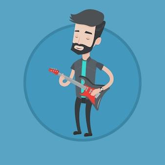 Man elektrische gitaar vectorillustratie spelen.