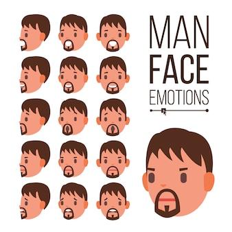 Man emoties vector. jonge mannelijke gezicht portretten. sport hockeyhelm. verdriet, woede, woede, verrassing, schok