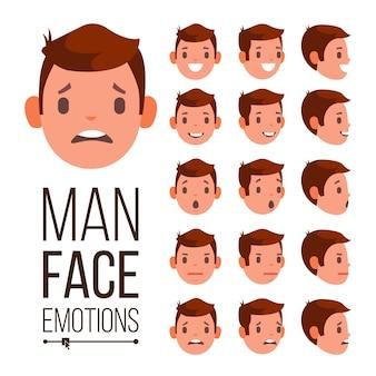 Man emoties vector. verschillende mannelijke gezicht avatar expressies instellen. emotionele set voor animatie