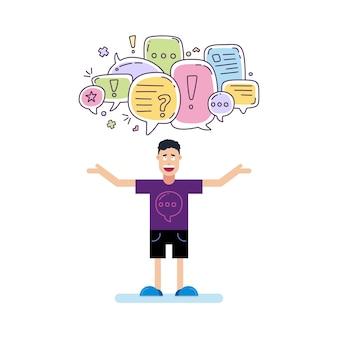 Man en kleurrijke kleur dialoogvenster tekstballonnen