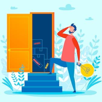 Man en open deur ingang met nieuwe kansen