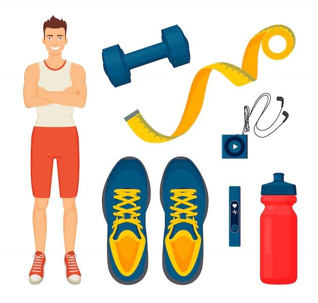 Man en sport items pictogrammen instellen illustratie