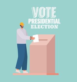 Man en stemkastje met tekstontwerp stem presidentsverkiezingen, thema verkiezingen dag.