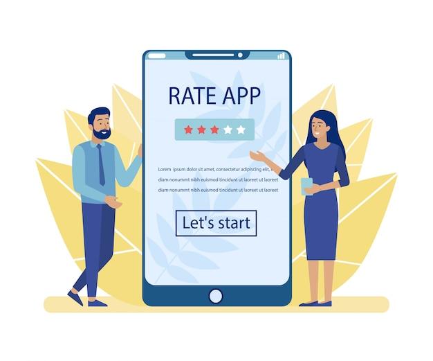 Man en vrouw adverteren rate app voor mobiel