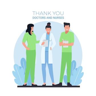 Man en vrouw artsen staan met dank u tekst