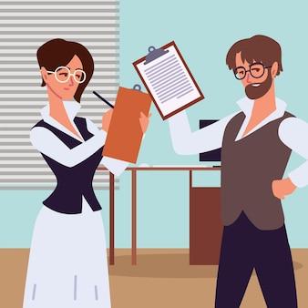 Man en vrouw assistent