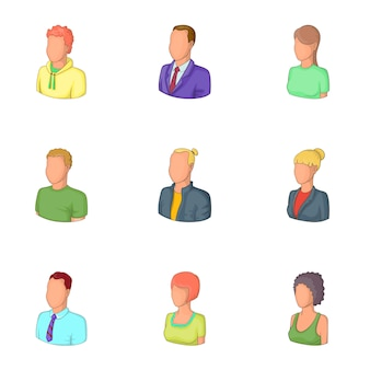 Man en vrouw avatars set, cartoon stijl