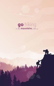 Man en vrouw beklimt de bergen vector platte veelhoekige landschapsillustratie