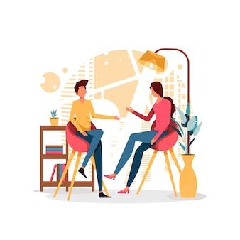 Man en vrouw bespreken illustratie