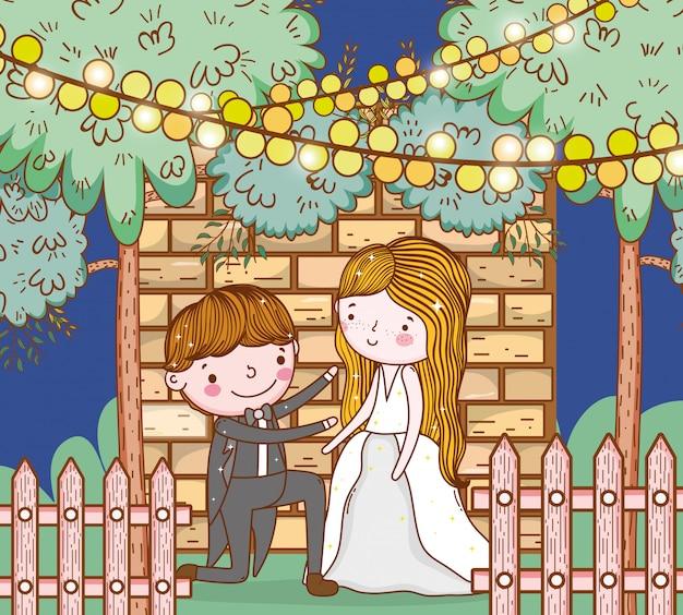Man en vrouw bruiloft met lichten hangen