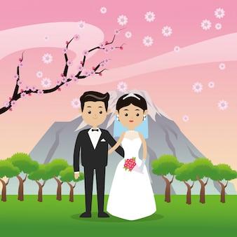 Man en vrouw cartoon koppel pictogram over landschap