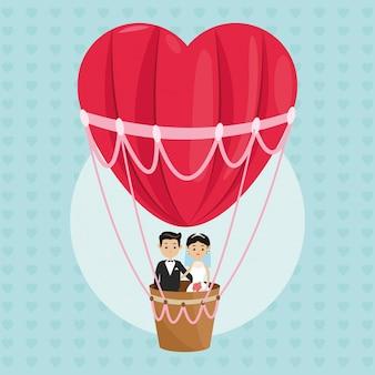 Man en vrouw cartoon paar in een heteluchtballon pictogram