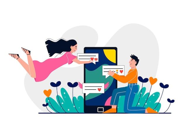 Man en vrouw chatten online online dating virtuele relaties concept liefde via internet