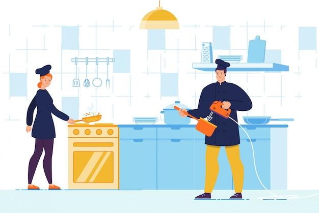 Man en vrouw chef-kok karakter met tool op keuken