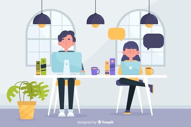 Man en vrouw die bij hun werk werken