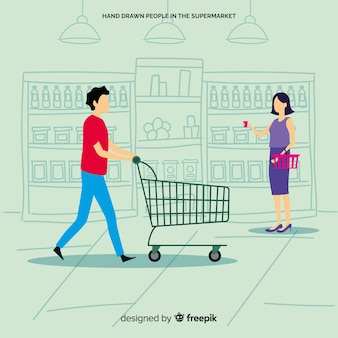 Man en vrouw die de supermarkt, illustratie met karakters inkopen
