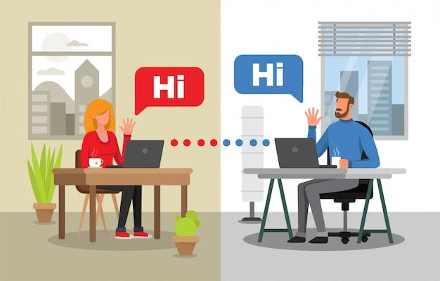 Man en vrouw die door videoconferentie communiceren. twee verschillende achtergronden voor elk personage. virtuele bijeenkomst.
