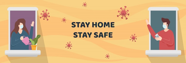 Man en vrouw die gezichtsmasker dragen die zich bij venstersflat bevinden terwijl buiten het zoeken quarantaine. mensen blijven thuis als sociale afstand om te beschermen tegen een covid-19 coronavirus-uitbraak. vector.