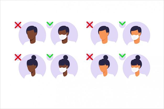 Man en vrouw die gezichtsmaskers dragen. stop pandemisch concept. mensen die bescherming dragen tegen virussen, stedelijke luchtverontreiniging, smog, damp, uitstoot van verontreinigende gassen. illustratie in flat.