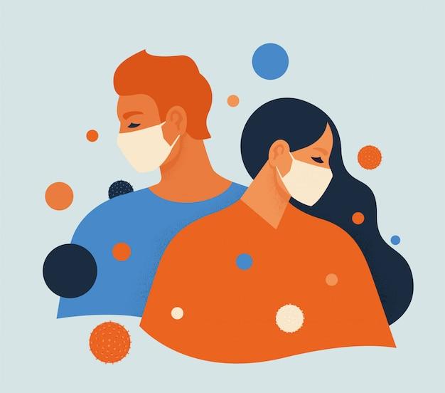 Man en vrouw die gezichtsmaskers met cirkels dragen