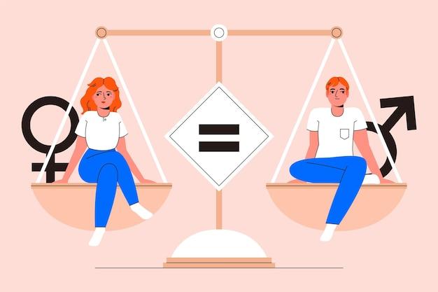 Man en vrouw die het concept van de gendergelijkheid vertegenwoordigen