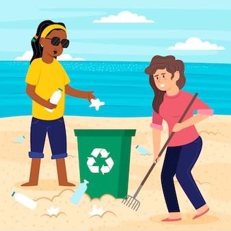 Man en vrouw die het strand samen schoonmaken