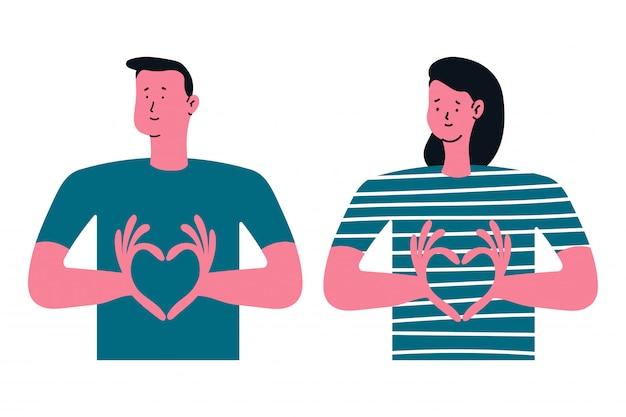 Man en vrouw die het teken van het handhart tonen