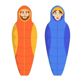 Man en vrouw die in de slaapzak liggen