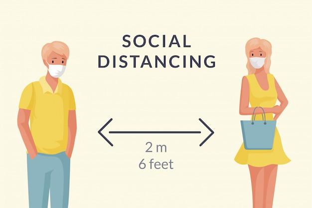 Man en vrouw die maskers dragen en sociale afstandsbeeldverhaalillustratie handhaven.