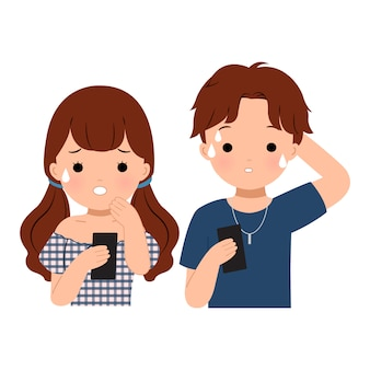 Man en vrouw die met een bezorgde uitdrukking naar hun telefoon staren. slecht nieuws ontvangen. platte vector illustraties geïsoleerd